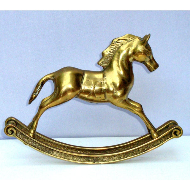 Hollywood Regency Mid-Century Brass Rocking Horse - Image 2 of 11