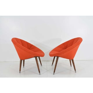 Mid-Century Orange Upholstered Hoop Chairs - a Pair Preview