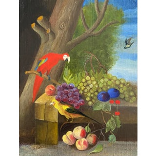 Baroque Style Oil Painting of Birds and Fruit For Sale