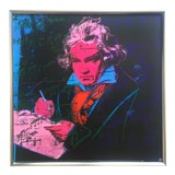"Image of Andy Warhol Foundation Vintage 1992 Lithograph Print Framed Pop Art Poster "" Beethoven "" 1987 For Sale"