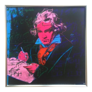 "Andy Warhol Foundation Vintage 1992 Lithograph Print Framed Pop Art Poster "" Beethoven "" 1987 For Sale"