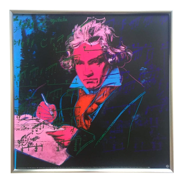 "Andy Warhol Foundation Vintage 1992 Lithograph Print Framed Pop Art Poster "" Beethoven "" 1987 For Sale"