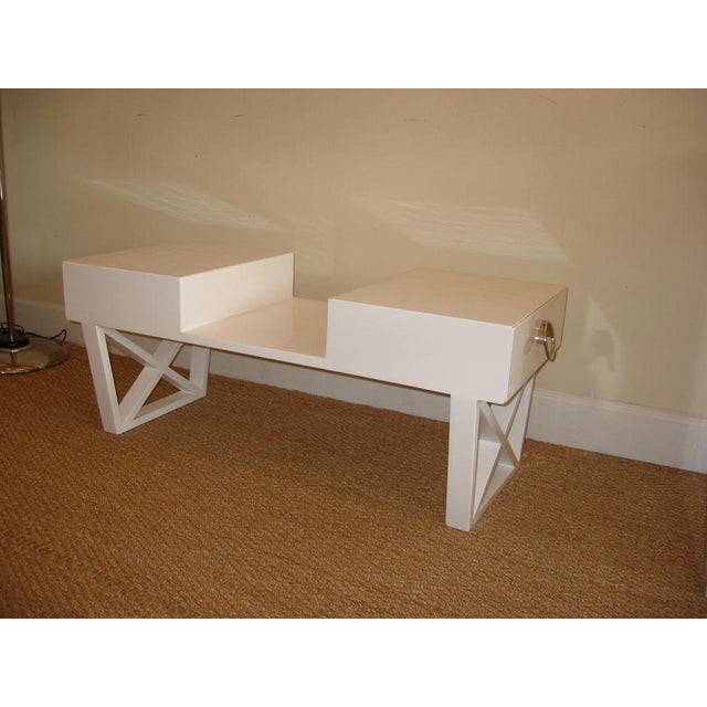 Mid-Century Modern White Lacquered Over Wood Mid Century X Frame Cocktail Table For Sale - Image 3 of 6