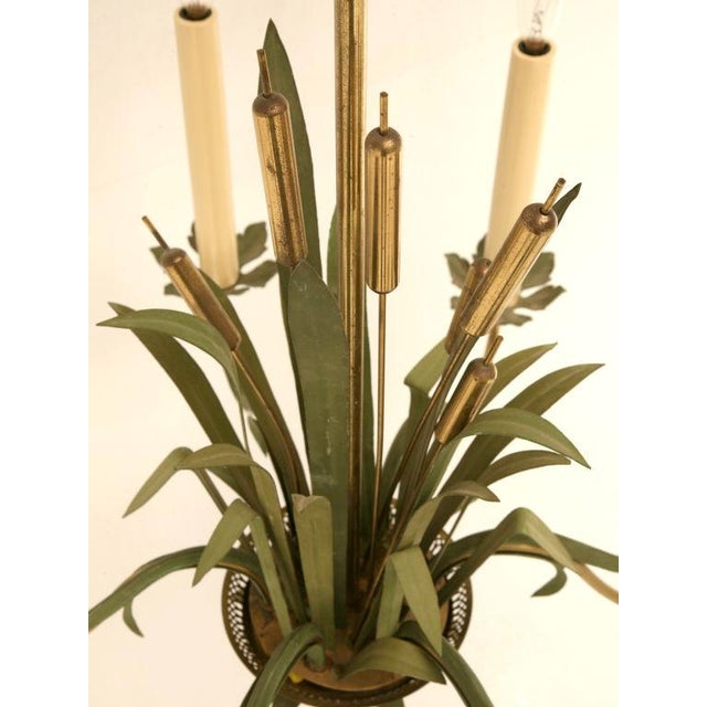 Italian Vintage Continental 6-Light Metal Cattail Chandelier For Sale - Image 3 of 11
