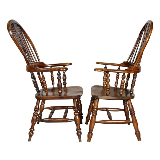Set of Four Assembled Regency Yewwood Windsor Armchairs For Sale - Image 4 of 13