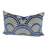 Image of Art Deco Inspired Blue and Green Velvet Throw Pillow For Sale