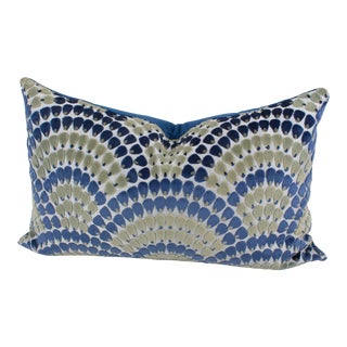 Art Deco Inspired Blue and Green Velvet Throw Pillow For Sale