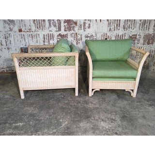 Pair of Wicker Tuxedo Chairs by Henry Link for Lexington Preview