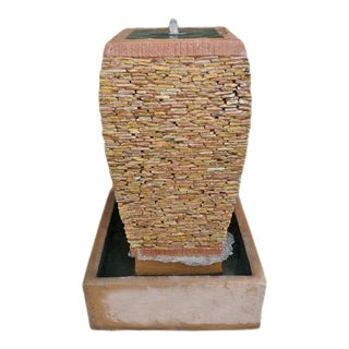 Peach Pebble Stacked Square Urn Fountain For Sale