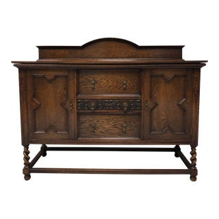 Antique Jacobean Revival Tiger Oak Barley Twist Sideboard For Sale
