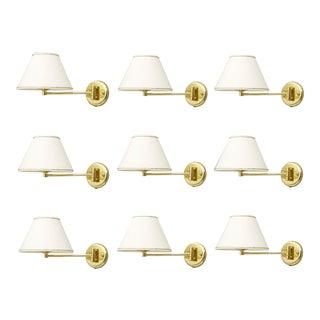 Set of Ten Swing Wall Lights in Brass 1970s For Sale