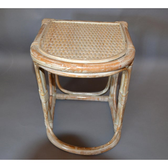 White Vintage Bamboo & Cane White Washed Side Table, End Table For Sale - Image 8 of 10