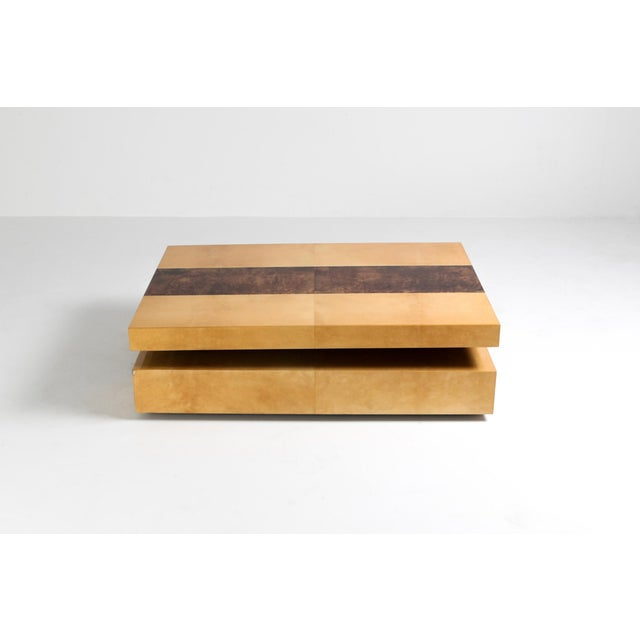 Paper Aldo Tura Two-Tier Sliding Coffee Table For Sale - Image 7 of 12