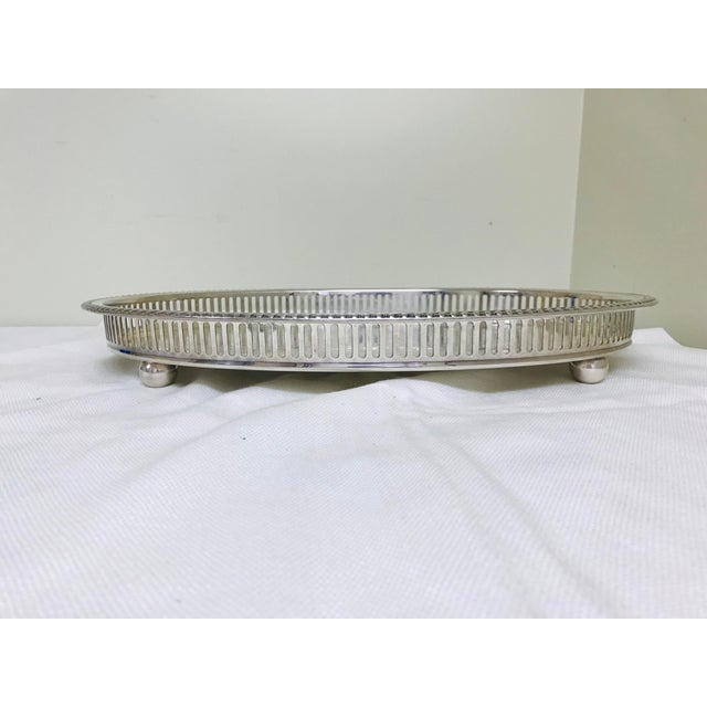 1950s 1950s Vintage Blackinton Silverplate Footed Gallery Tray For Sale - Image 5 of 10