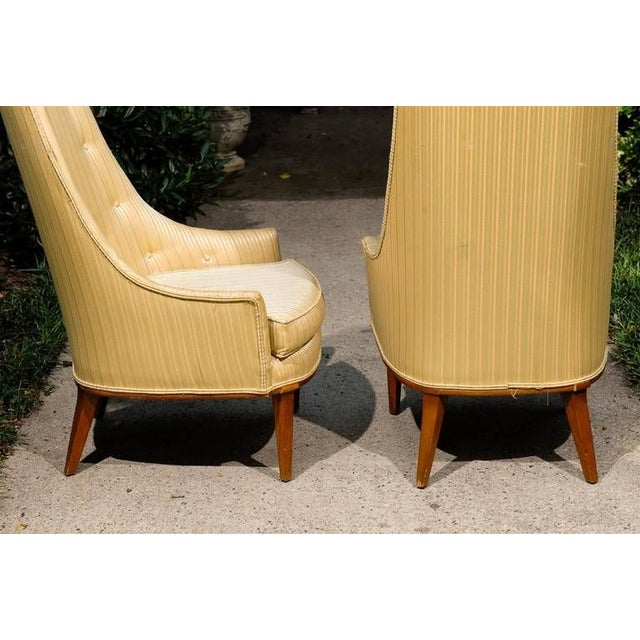 1960s Pair of Mid Century Tufted High Back Chairs by Tomlinson For Sale - Image 5 of 5