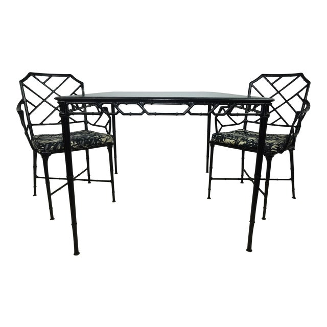 Brown Jordan Calcutta Faux Bamboo Table & Arm Chairs For Sale
