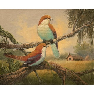 Signed Cottage Style Birds Oil Painting For Sale