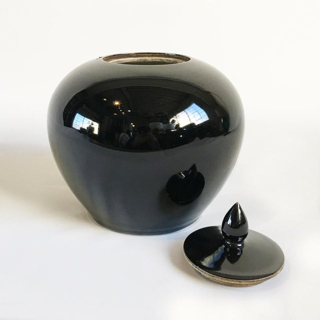 Modern Black Ceramic Lidded Jar For Sale - Image 3 of 3