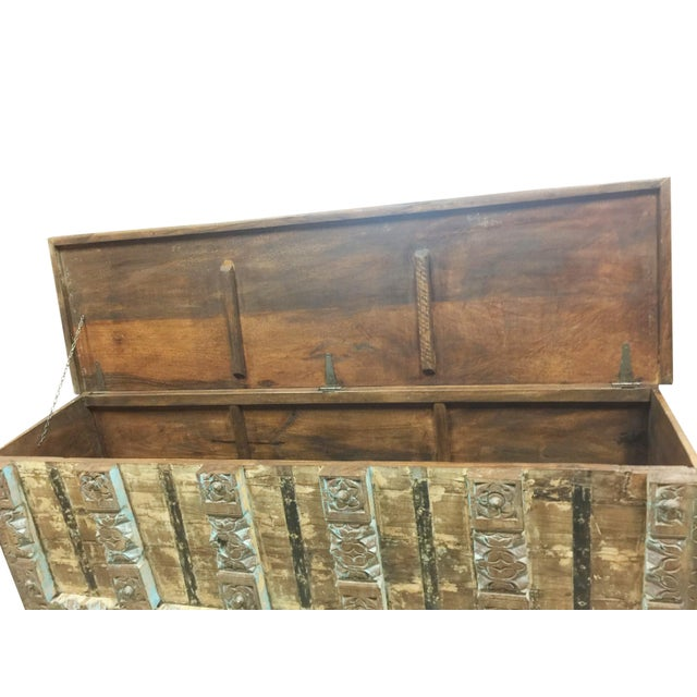 One of a kind vintage Indian chest styled into trunk old dowry chest with gorgeous carved old door Blocks in front....