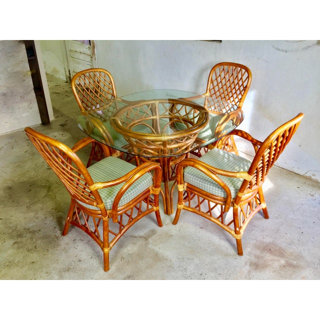 rattan dining set 4 arm chairs with glass top table chairish. Black Bedroom Furniture Sets. Home Design Ideas