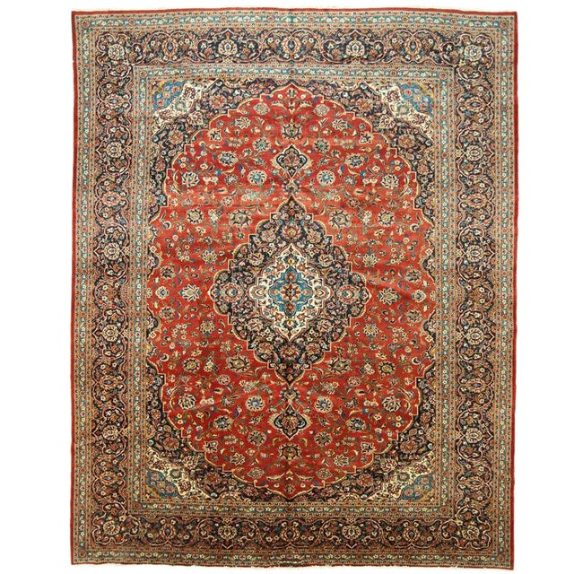 Circa 1950 Antique Kashan Rug - 10′8″ × 13′8″ For Sale