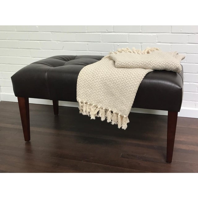 Wood Transitional ButtonlessTufted Bench With Walnut Finish For Sale - Image 7 of 9