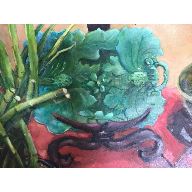 Majolica, Pomegranates & Bamboo Still Life Oil Painting - Image 4 of 7