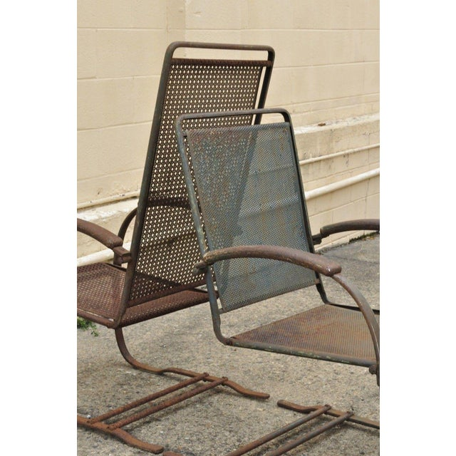 Vintage Steel Metal Mesh His and Hers Patio Bouncer Lounge Chairs - a Pair For Sale - Image 11 of 12