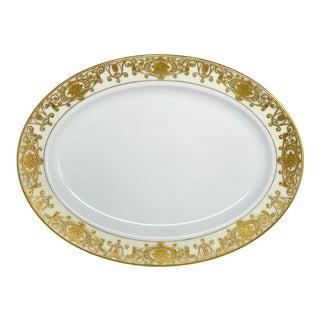 Gold Gilt Noritake Porcelain Oval Serving Platter For Sale