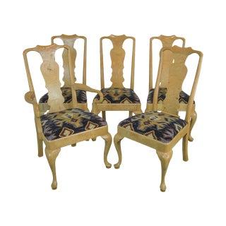 Vintage Henredon Burl Wood Dining Chairs - Set of 5 For Sale