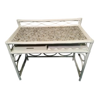 Vintage White Rattan Glass Tile Top Dry Bar For Sale