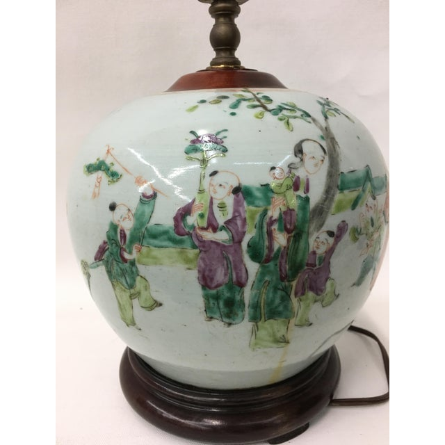 Early 19th Century Famile Rose Playing Children Vintage Table Lamp For Sale - Image 4 of 5