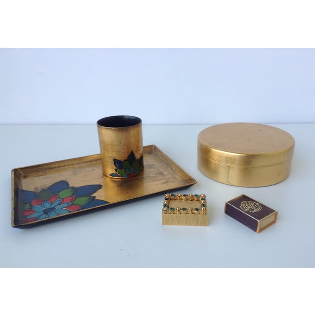 Vintage; 1960s-70's; Japanese, gold leaf lacquered, combination smoke set, consisting of tray and cigarette cup holder,...