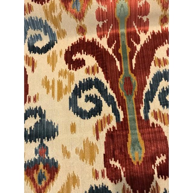 Traditional Traditional Kravet Ikat Pardah Cut Velvet in Jewel - 1 Yard Fabric For Sale - Image 3 of 7