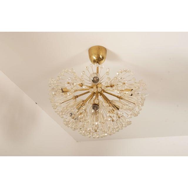 Mid-Century Modern Impressive Emil Stejnar Brass and Glass Sputnik Snowball Chandelier For Sale - Image 3 of 9