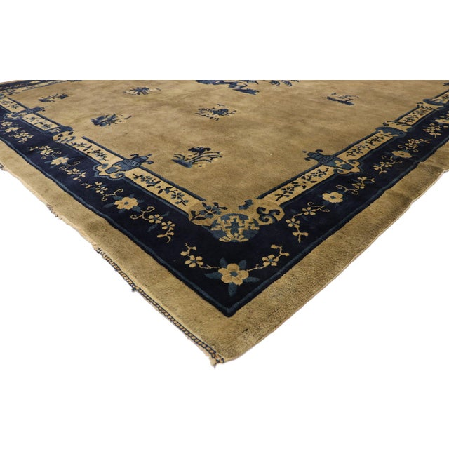 77408 Antique Chinese Peking Rug with Chinoiserie Style and Pagoda Design 08'03 x 09'07. This hand-knotted wool antique...