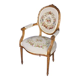 Louis XVI French Style Needlepoint Armchair For Sale
