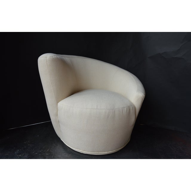 Textile Vladimir Kagan Swivel Chairs - a Pair For Sale - Image 7 of 11
