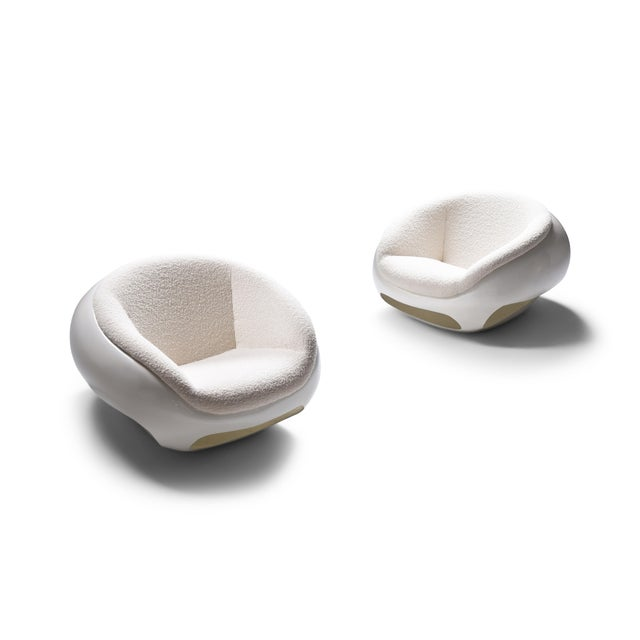 1960s Mario Sabot Sculptural Fiberglass Lounge Chairs in Bouclé - a Pair For Sale - Image 12 of 12