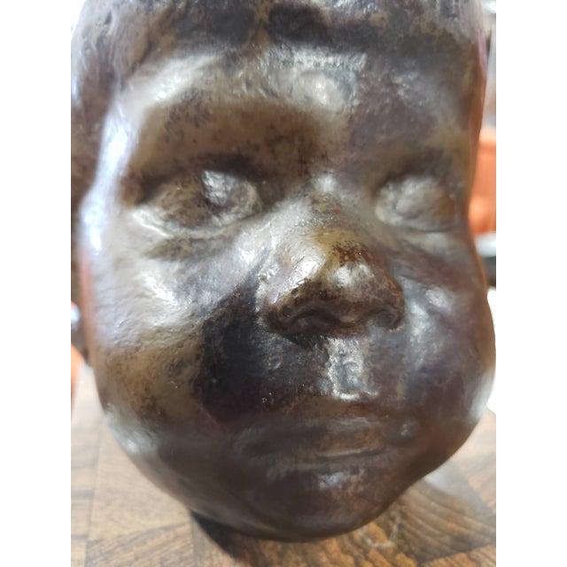 Vintage Childs Face Bronze Sculpture For Sale - Image 4 of 6