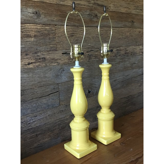 Vintage Yellow Table Lamps - A Pair - Image 4 of 11