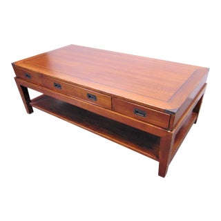 Mid Century Oak Campaign Style Coffee Table For Sale