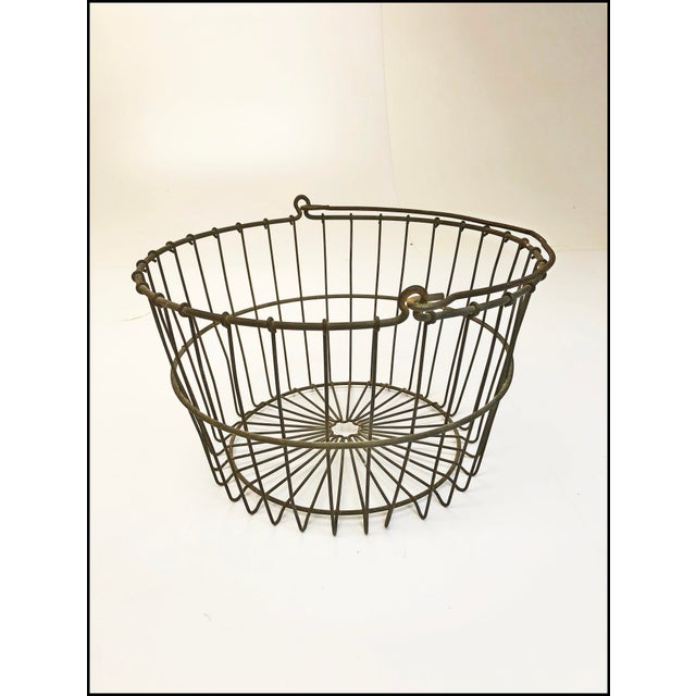 Black Vintage Rustic Wire Metal Egg Basket With Handle For Sale - Image 8 of 10
