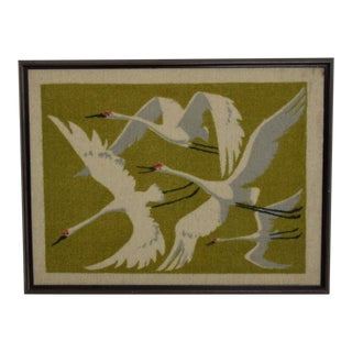 Mid Century Modern Textile Modern Wall Art Flying Birds For Sale
