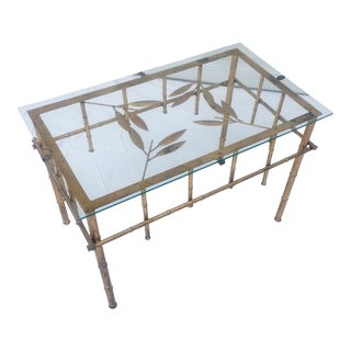 1960s Chinoiserie Glass Top Brass Faux Bamboo Coffee Table For Sale