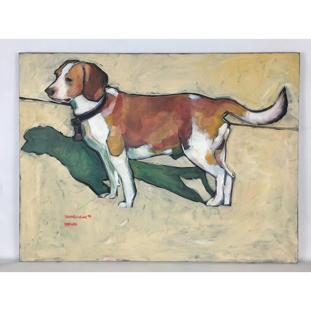 1990s Vintage Contemporary Beagle Dog Portrait Oil Painting Signed by Rise Delmar Ochsner For Sale - Image 13 of 13