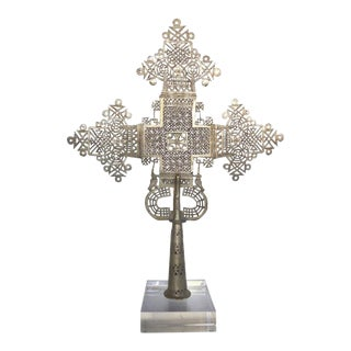 20th Century Ethiopian Coptic Cross on Lucite Base For Sale