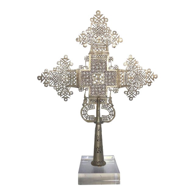 20th Century Ethiopian Coptic Cross on Lucite Base For Sale