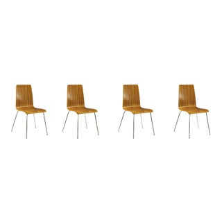 1960s Vintage Plywood Zebra Dining Chairs- Set of 4 For Sale