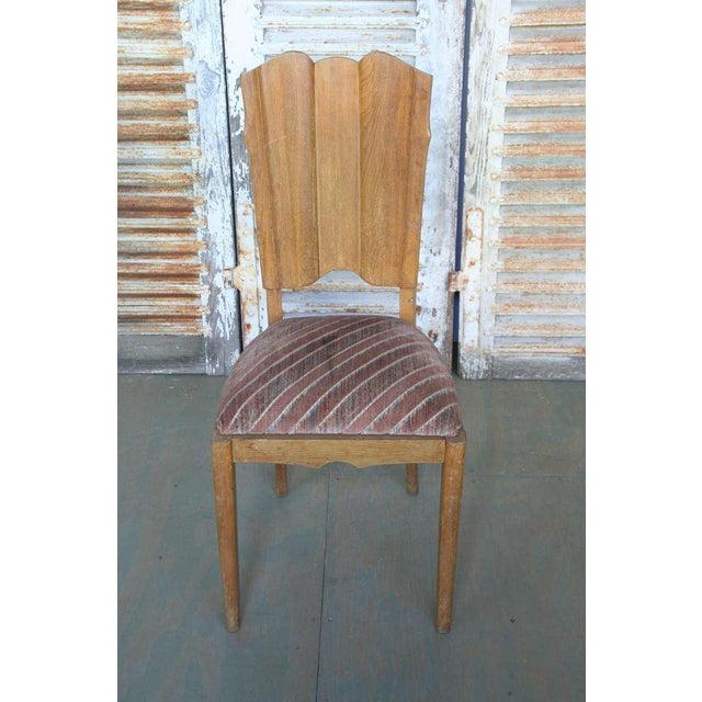 Set of Six Linen Fold Oak Side Chairs - Image 2 of 8